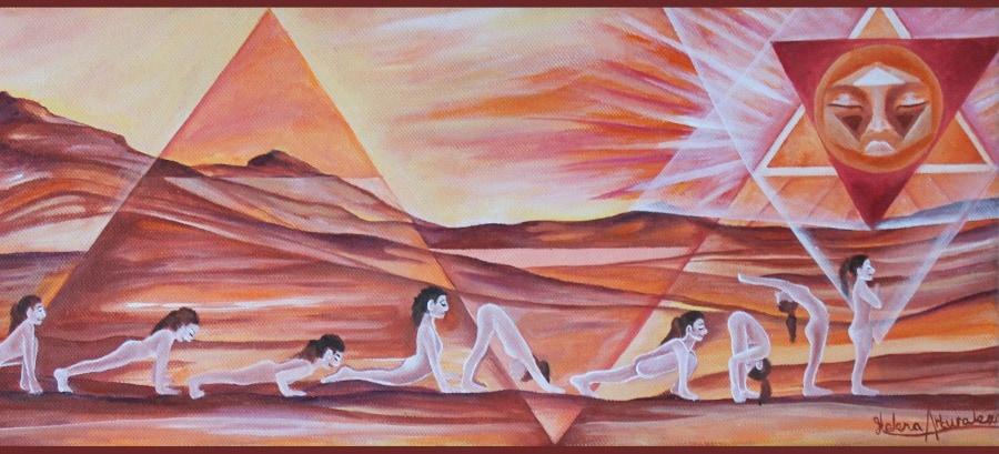 Yogakunst aan de muur door Yoga Art