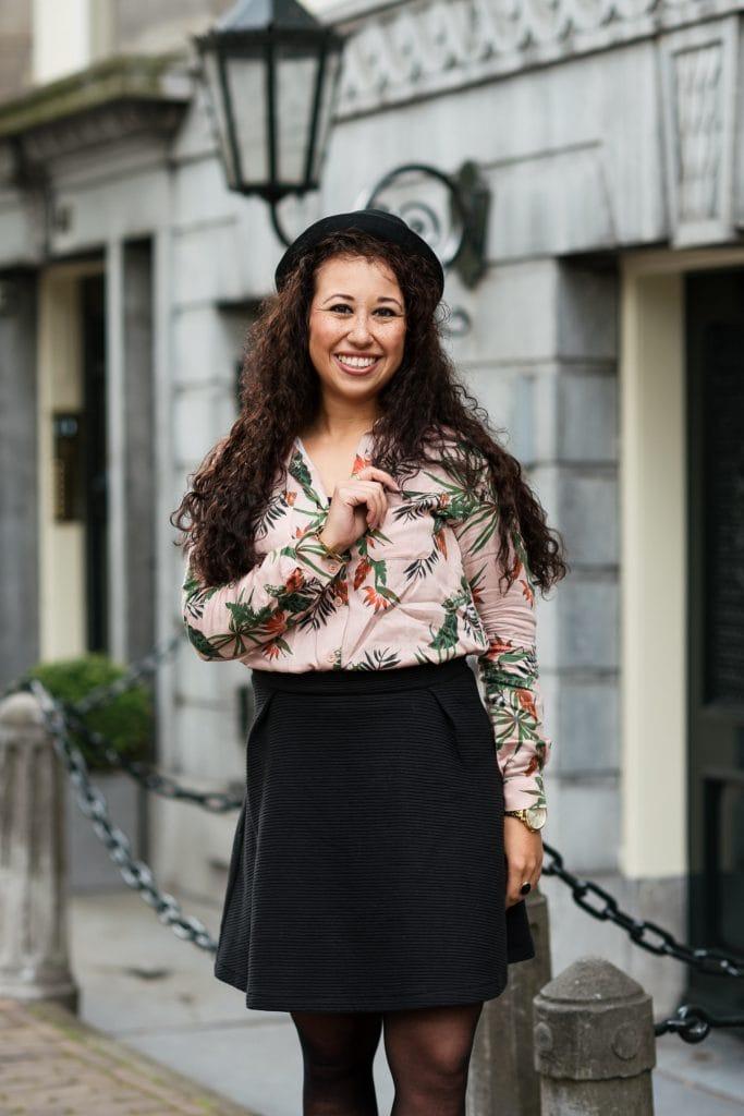 Outfit | Fleurige rose blouse met bio-katoenen rok van webshop watMooi (+ kortingscode)