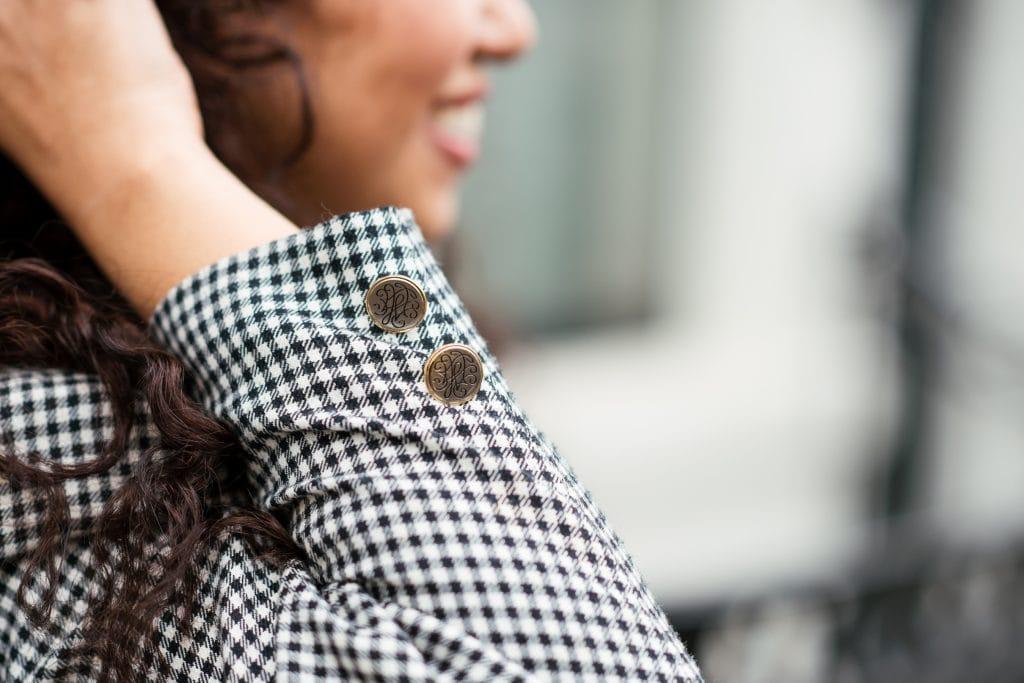 Hailey 13 1 - Fair fashion outfit || Zwart-witte vintage blazer met zwarte designer broek